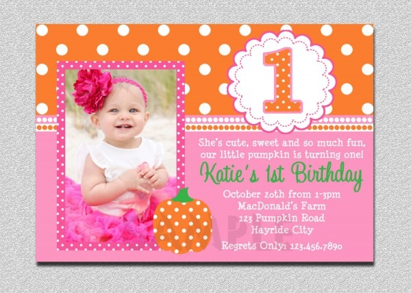 Pumpkin Birthday Invitation Pumpkin 1st Birthday Party