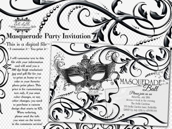 Black White Masquerade Party, Quinceanera Masquerade Invitation