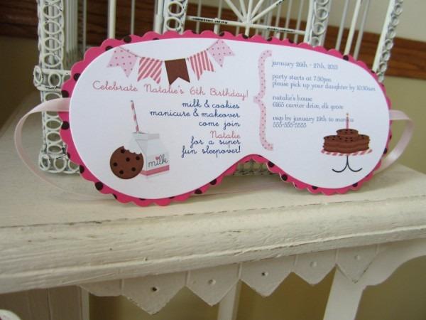 Milk And Cookies Sleeping Mask Invitation Custom Die Cut