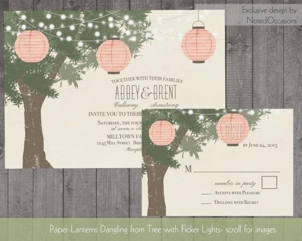 Paper Lanterns Wedding Invitations Tree With Twinkle Lights