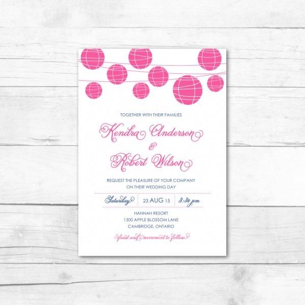 Hot Pink And Navy Hanging Paper Lanterns Wedding Invitation