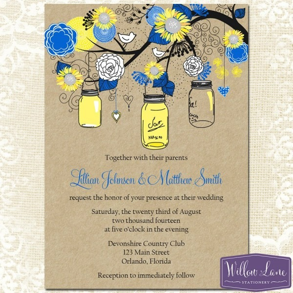 Sunflower Mason Jar Wedding Invitation – Royal Blue Yellow Kraft