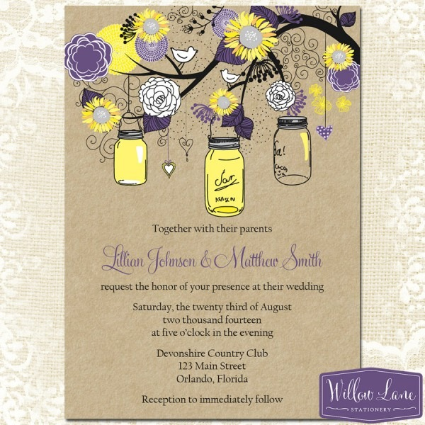 Sunflower Mason Jar Wedding Invitation – Plum Purple Yellow Kraft