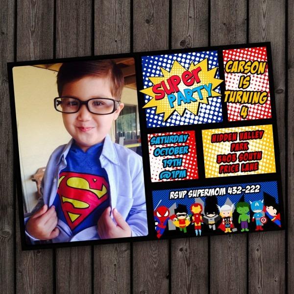 Superhero Invitations Fast Ship Free Customized Wording