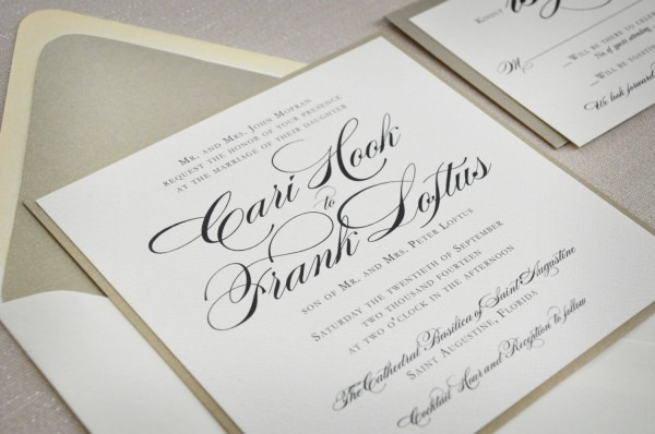 Square Wedding Invitation Traditional Wedding Formal Wedding