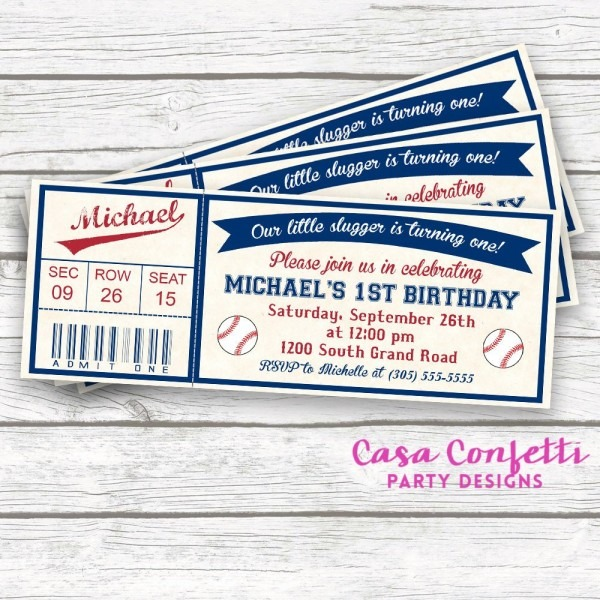 Baseball Birthday Invitation, Baseball Invitation, Baseball Ticket