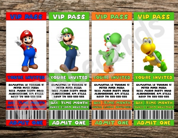 Super Mario Birthday Super Mario Birthday Invitation Super