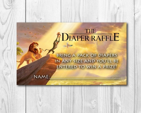 Lion King Diaper Raffle