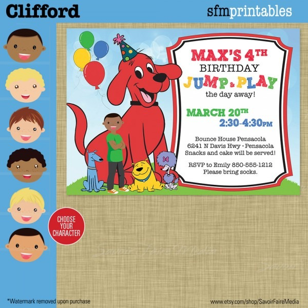 Clifford Birthday Invitation Big Red Dog Party Cloe T