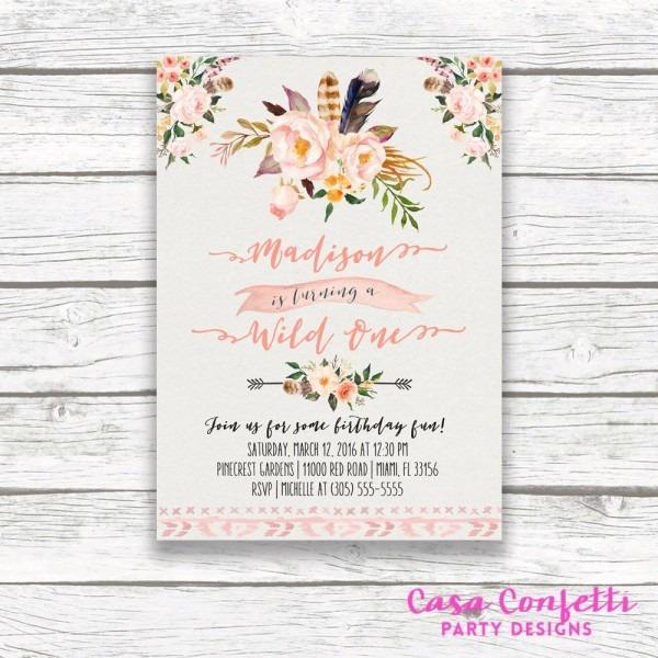 Wild One Birthday Invitation, Boho Birthday Invitation, Girl First 1st