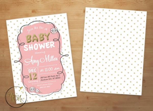 Gold Baby Shower Invite