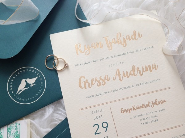Emerald And Rose Gold Modern Invitations