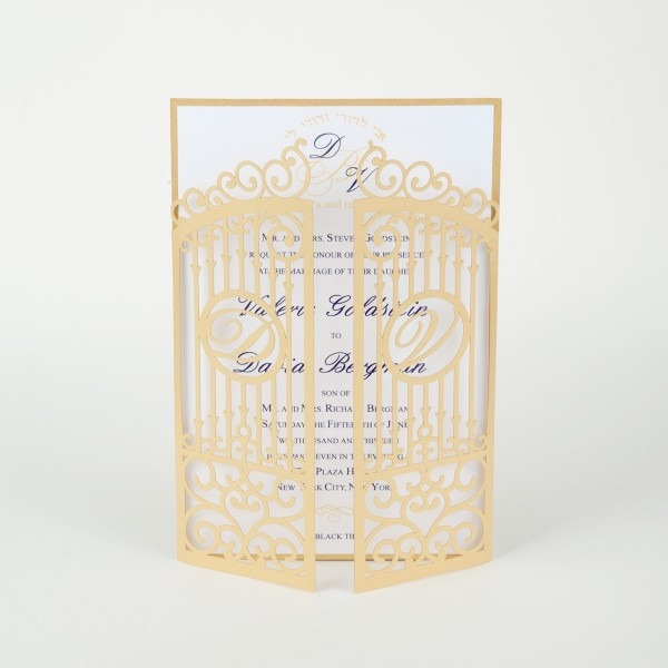 Laser Cut Wedding Invitation, Die Cut Monogram Iron Gate Bi