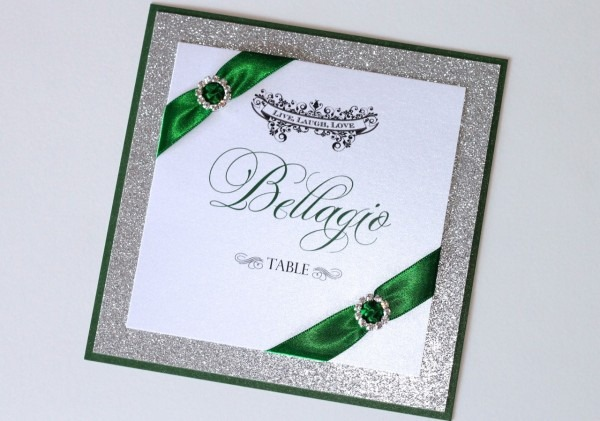 Gorgeous Emerald Green And Silver Glitter Wedding Invitations
