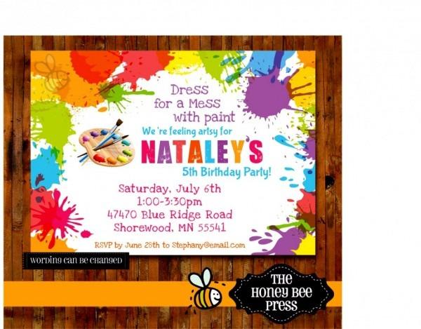 Wonderful Of Art Birthday Party Invitation Wording Printable
