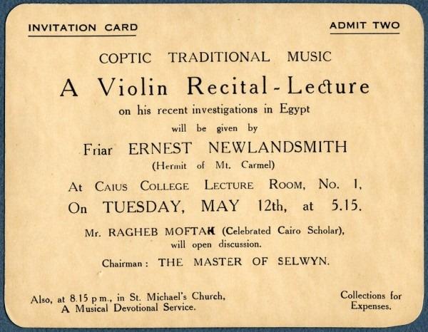 Invitation Card, Coptic Traditional Music  A Violin Recital