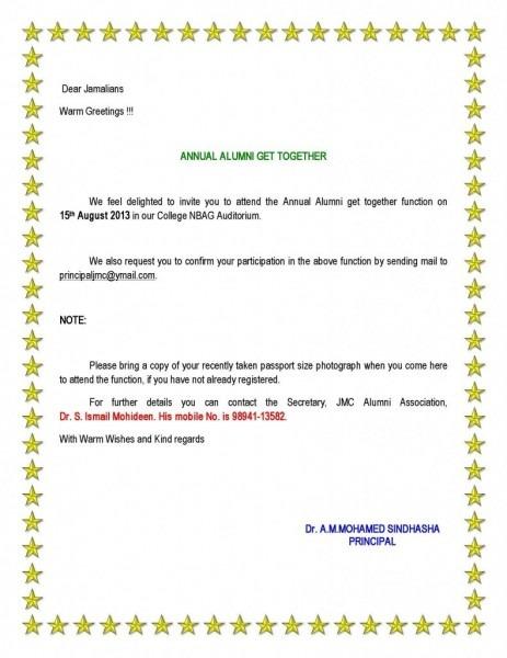 Invitation Letter For Get Together