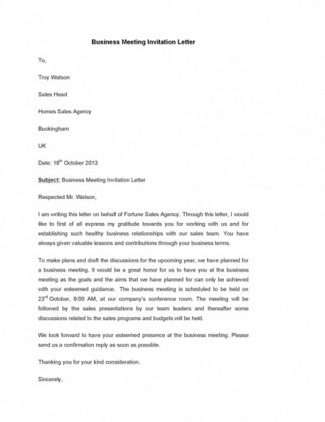 Invitation Letter Format For Business Meeting Save To Sales