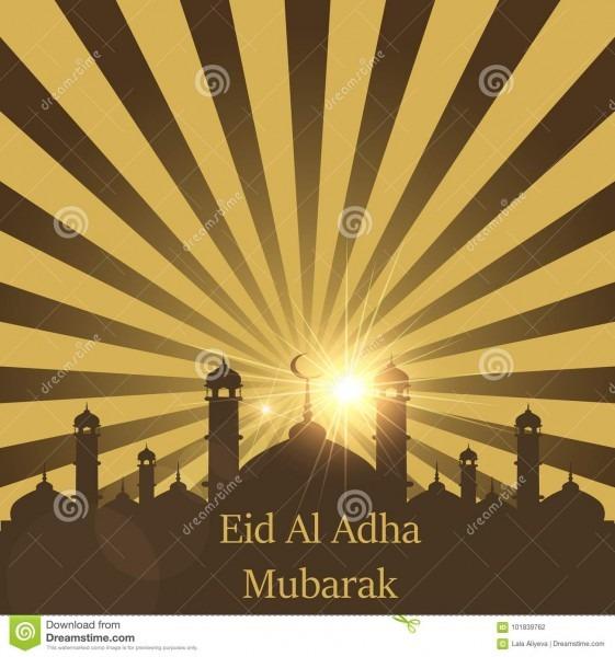 Islamic Festival Of Sacrifice, Eid Al Adha Mubarak Greeting Card