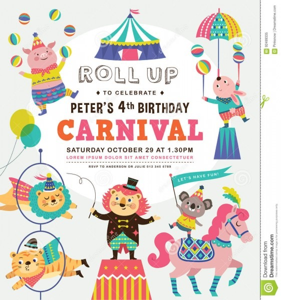 Kids Birthday Invitation Card Stock Vector