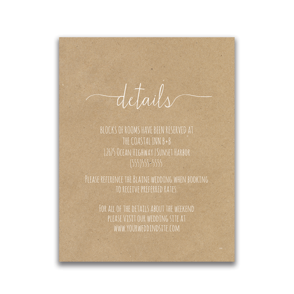 Fern Wedding Guest Additional Information Insert Card