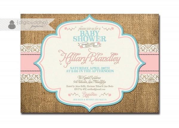 Lace Burlap Baby Shower Invitation Pink Aqua Turquoise Roses