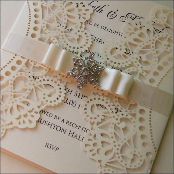 Laser Cut Wedding Invitation With Crystal Embellishment  2417788