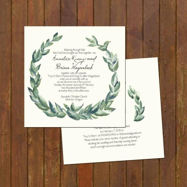 Laurel Wreath Painted Wedding Invitations