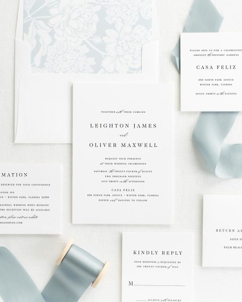 Classic And Whimsical Ribbon Wedding Invitations In Whisper
