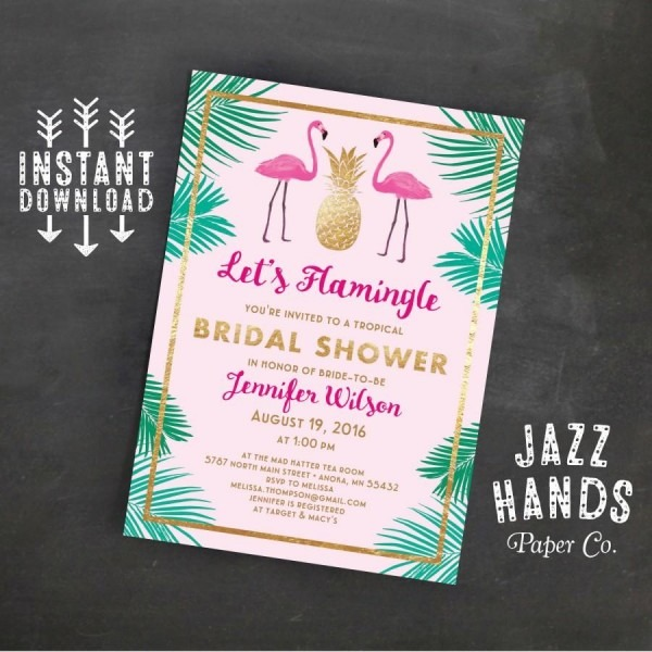 Let's Flamingle Printable Bridal Shower Invitation Template