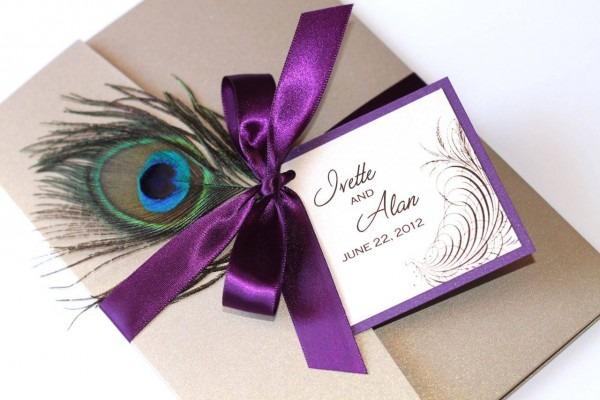 Wedding Invitation Ideas  Lovely Purple Peacock Wedding