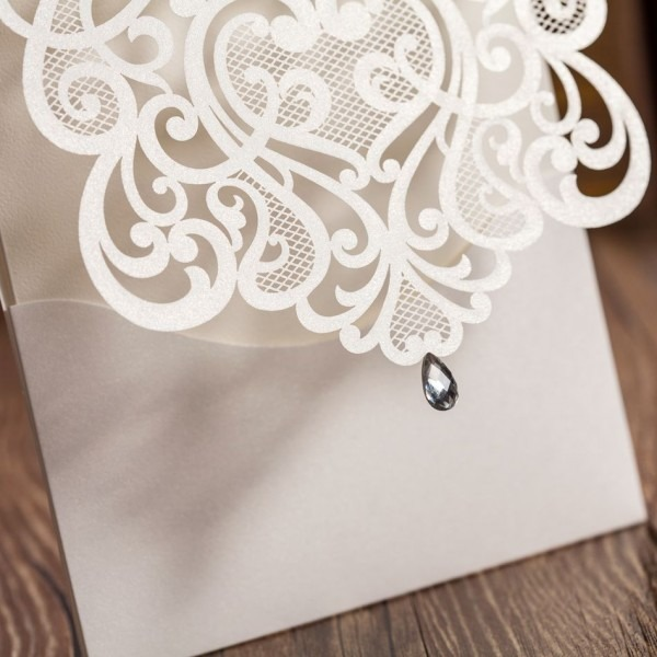 Luxury White Cut Out Paper Lace Wedding Invitations Cardswith