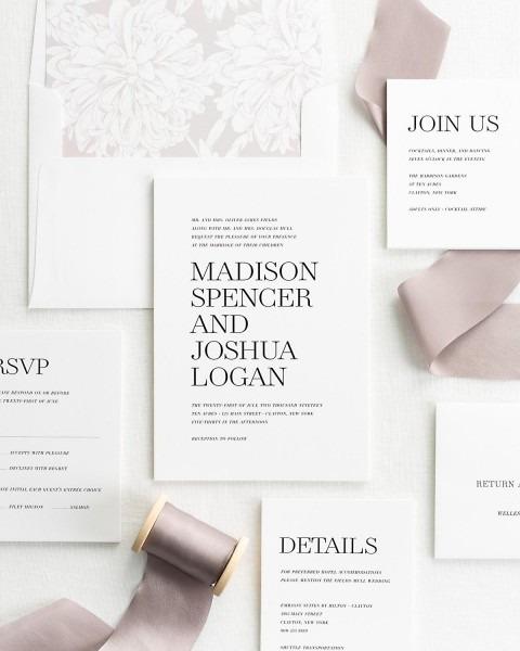 Modern Wedding Invitations Softened With Silk Ribbon – Wedding