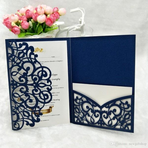 Many Color Tri Fold Pocket Wedding Invitation Card 2019 Shimmy