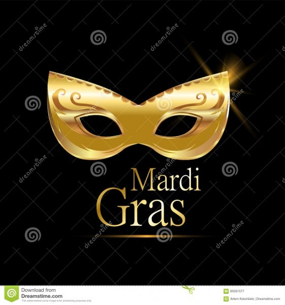 Mardi Gras Golden Carnival Mask With Ornaments For Poster