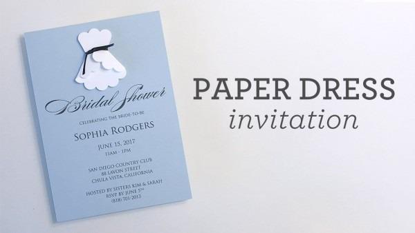 3d Paper Wedding Dress Shower Invitation