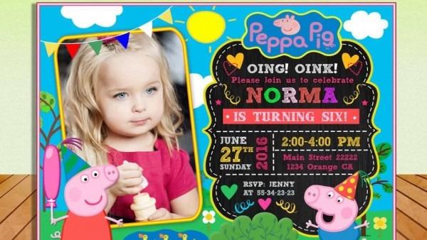 Peppa Pig Photo Invitation Birthday Party Printable
