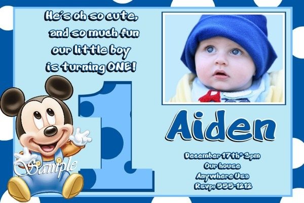 Mickey Mouse First Birthday Invitations Mickey Mouse First