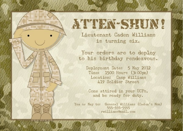 Army Party Printable Birthday Party Decorations Army Invitation
