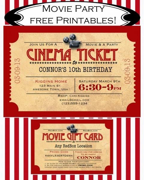 Movie Ticket Invitation Clipart Collection