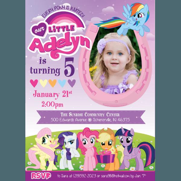 My Little Pony Birthday Invitations – Blackline
