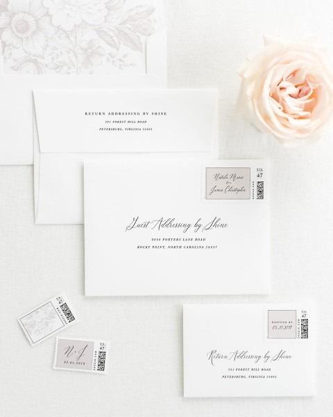 Classic Calligraphy Wedding Invitations With Light Purple Silk