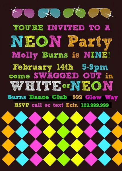 Neon Party Invitations Neon Party Invitations By Way Of Giving