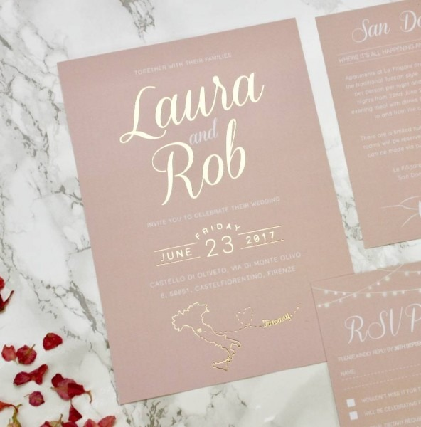 Luscious Type Blush And Gold Wedding Invites By Rodo Creative