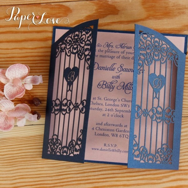 Ornamental Gate Laser Cut Evening Wedding Invitations