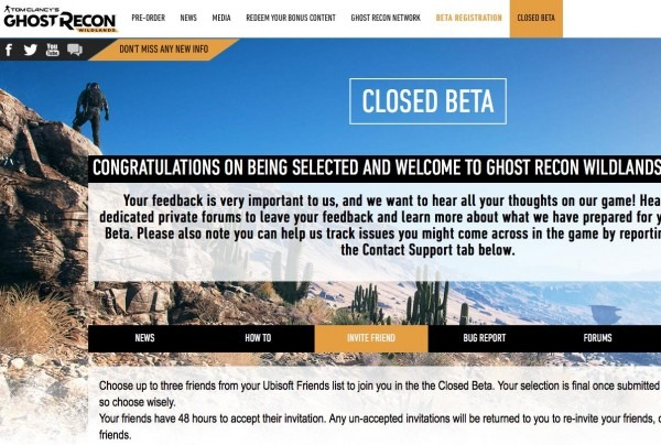 Important  Ghost Recon Wildlands Closed Beta Invitations And