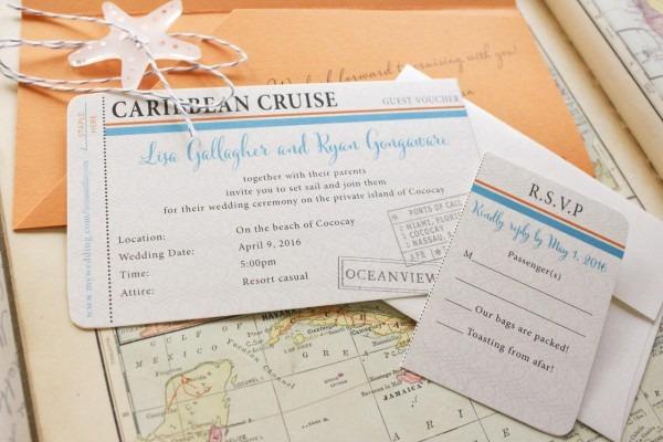 Cruise Boarding Pass Wedding Invitation (caribbean Cruise)