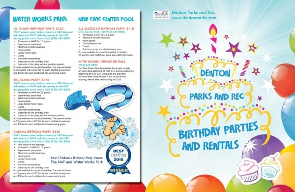 2016 Denton Parks And Rec Birthday Party Packages By Denton Parks