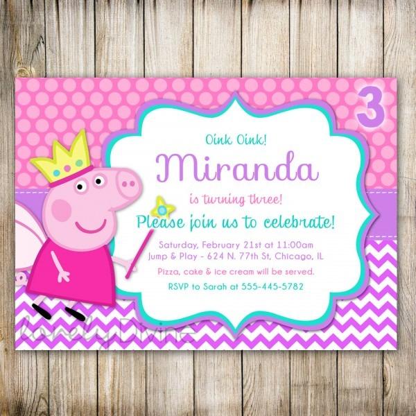 Peppa Pig Birthday Invitations Peppa Pig Birthday Invitations With