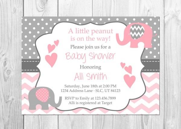 Pink Elephant Baby Shower Invitations